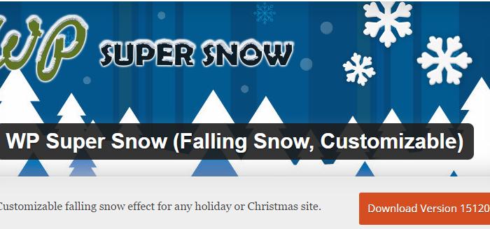 Holiday Plugin: WP Super Snow (Falling Snow, Customizable)