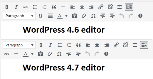 WordPress 4.7 editor does not have underline and justify buttons anymore